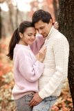 Couple in love in the autumn leaves royalty free stock images