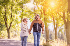 Couple in love  in autumn nature on a walk Royalty Free Stock Images