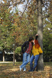 Couple in love in autumn park Royalty Free Stock Image