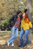 Couple in love in autumn park Royalty Free Stock Photos
