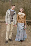 Couple in love. Autumn Park. Walk in kantristile . Royalty Free Stock Photography