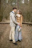 Couple in love. Autumn Park. Walk in kantristile . Stock Images