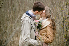 Couple in love. Autumn Park. Walk in kantristile . Royalty Free Stock Images