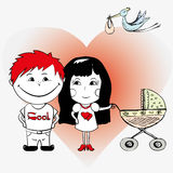 Couple in love with a baby carriage Royalty Free Stock Photo