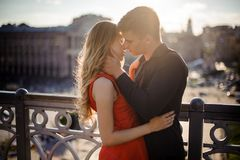 Couple in love on the background of beautiful town Royalty Free Stock Photo