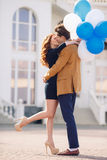 Couple in love on the background of the spring city. Stock Photo