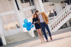 Couple in love on the background of the spring city. Stock Photography