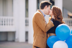 Couple in love on the background of the spring city. Royalty Free Stock Images