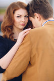 Couple in love on the background of the spring city. Royalty Free Stock Image