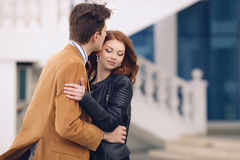 Couple in love on the background of the spring city. Stock Photos