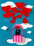Couple love on balloon Stock Photo