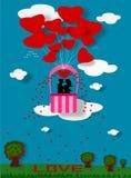 Couple love on balloon Stock Photography