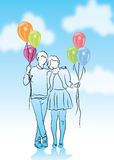 Couple in love with balloon Royalty Free Stock Photography