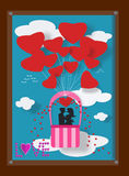 Couple love on balloon in picture frame Stock Photography