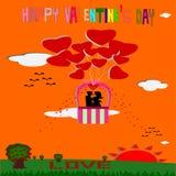Couple love on balloon Stock Image