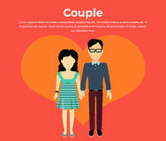 Couple in Love Banner Flat Design Royalty Free Stock Image
