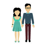 Couple in Love Banner Flat Design Stock Image
