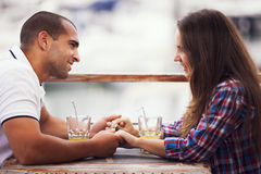 Couple in love at the bar Royalty Free Stock Photos