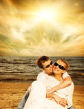 Couple in love on the beach Royalty Free Stock Photography