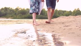 Couple in love on beach stock video
