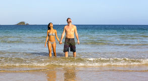 Couple in love on the beach Stock Images
