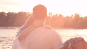 Couple in love on beach stock video footage