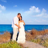 Couple in love in the beach on Mediterranean Stock Photography