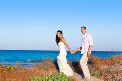 Couple in love in the beach on Mediterranean Stock Images