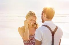 Couple in love at beach Stock Photos