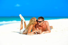 Couple in love on the beach Royalty Free Stock Image