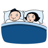 Couple in love at bed illustration Royalty Free Stock Photos