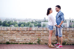 Couple in love being close to each other outdoors Royalty Free Stock Photography