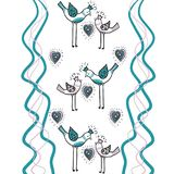 Couple love birds with color heart and wave color lines are part of a beautiful ornament that creates design paper. Two love birds with heart and wave color royalty free illustration