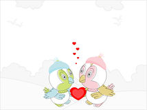 Couple of love birds with a red heart Stock Photo