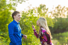Couple in love blowing blowballs flowers in faces of each other. Smiling and laughing people having good time outside on Royalty Free Stock Image