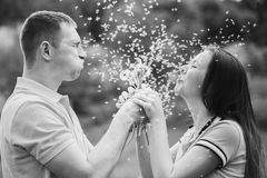 Couple in love blowing cheerfully blowballs flowers Stock Photo