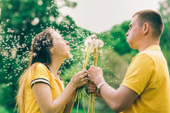 Couple in love blowing cheerfully blowballs flowers Royalty Free Stock Images