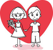 A couple in love boy and girl with a red heart - Vector illustration Stock Photography
