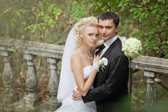 Couple in love bride and groom together in bridal summer day Stock Images