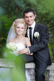 Couple in love bride and groom together in bridal summer day Royalty Free Stock Photo