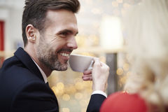 Couple in love in cafe Stock Photography