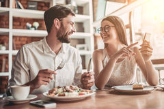 Couple in love in cafe stock photos