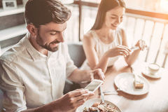 Couple in love in cafe royalty free stock images