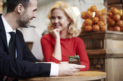 Couple in love in cafe Royalty Free Stock Image