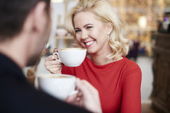 Couple in love in cafe Stock Images