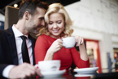 Couple in love in cafe Stock Image