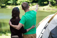 Couple in love on a camping Royalty Free Stock Photo