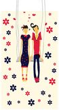 Couple in love card. Couple in love valentine card, lovers on teeterboard with flowers Royalty Free Stock Photo
