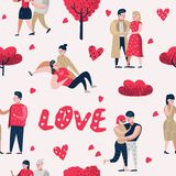 Couple in Love Cartoon Characters People Seamless Pattern. Valentines Day Background with Hearts and Romantic Elements. Love and Romance Concept. Vector Vector Illustration