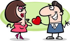 Couple in love cartoon illustration. Valentines Day Cartoon Illustration of Cute Couple in Love Stock Photos